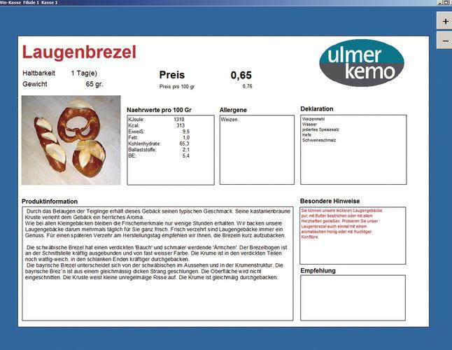 Produktinformation von Ulmer-Kemo im Zusammenspiel von Monitor, Kasse und B.I.T.-Warenwirtschaftsystem. Damit können sich Verkäuferin und Kunde genauestens informieren.