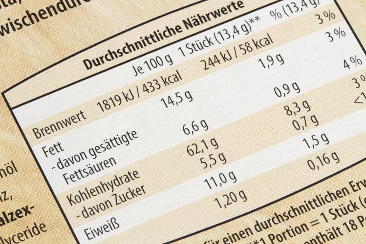 Das Lebensmittelrecht bestimmt auch die Gestaltung von Nährwertangaben auf Verpackungen.
