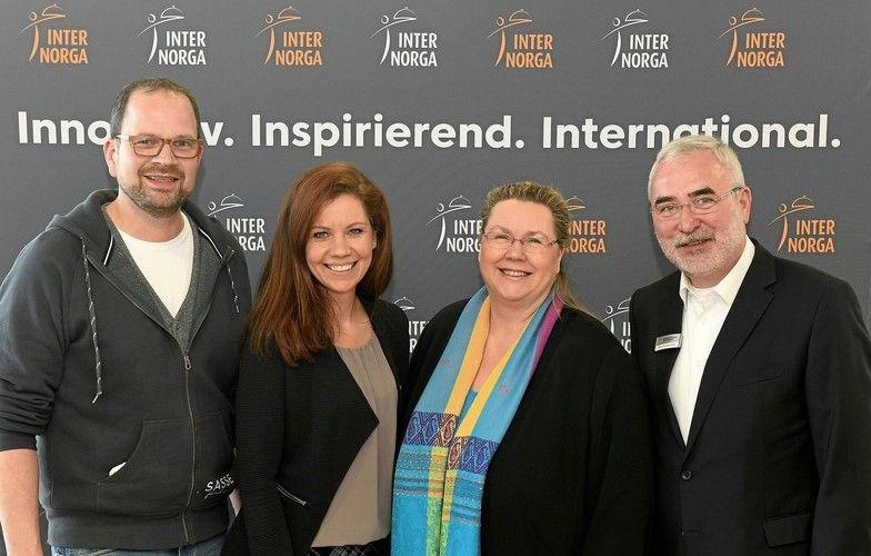 Frank Wigger (Feinbrennerei Sasse), Katleen Haefele (ProVeg), Karin Tischer (Food-Trendforscherin), Bernd Aufderheide (Hamburg Messe).