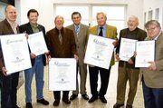 Gruppenbild mit OM (v. l.): Armin Haag, Alfred Müller, Josef Winter, Klaus Nennhuber, Alfons Köhler, Friedrich Friedrich und Kurt Vonderschmidt.