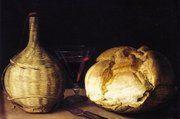 Sebastian Stoskopff (1597 bis 1657): Stilleben mit Korbflasche, Kelchglas und Brot, 1630 bis 1635, Öl auf Holz.
