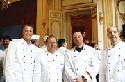 Die Bäckermeister René Krause, Achim Stock, Hartmut Becker und Marian Kalliske (v.l.) beim Empfang im Matignon.