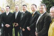 Der Vorstand des LIV Mecklenburg-Vorpommern mit Staatssekretär (von links): GF Heinz Essel, Jens Döbler, Matthias Grenzer, Staatssekretär Dr. Stefan Rudolph, LIM Thomas Müller, Olaf Jaretzke, Jörg Reichau und Klaus Tilsen.
