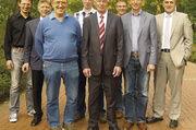 Vorstandsteam in Lingen (von links): Daniel Wintering, Bernd Bauer, Bernhard Sabel, Peter Lüttel, OM Hermann Lüttel, Georg Fehren, Heinrich van Lengerich, Horst Hagemann. Es fehlen: Heribert Köbbe, Alexander Puls.