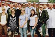 Teilnehmer des Lehrgangs Technischer Bäcker (Modul 3/Feine Backwaren) unter der Leitung von Dr. Heinz Kaiser (rechts) und Prof. Walter Freund (links).