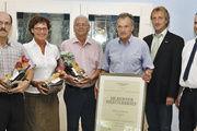 Die Geehrten (von links): Karl Nordhofen, Karin Roth, Winfried Laux und Erich Jung mit KHWM Wolfram Uhe und OM Peter Krekel.