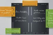 Die beschreibbaren Tafelkombinationen zum Aufstellen oder Aufhängen sind in acht Farben lieferbar.