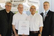 Martin Huber, der neue Obermeister, sein Vorgänger Josef Schmid, Karl Strittmatter und Landesinnungsmeister Fritz Trefzger (von links).