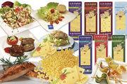 Elbländer Käse in vielen Verarbeitungsformen: Als Käsewürfel, -raspel oder in Scheiben geschnitten.