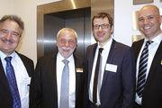 Polit-Talk (von links): Josef Rief (CDU/CSU), Michael Wippler (Saxonia), DKB-Präsident Gerhard Schenk sowie Bernd Kütscher, Akademie Weinheim.