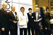 Der Innovationspreis Bio-Lebensmittel-Verarbeitung 2005 ging an Bäckerei Härdtner in Neckarsulm (von links): Eckhard Engert (BVML), Rolf Härdtner, Dr. Wolfgang Wiesner (Owisan), Dietmar Rudoletzky (Bäckerei Härdtner), Dr. Manfred Otto (Owisan), Peter