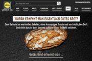 So wird auf der Lidl-Hompage die Qualitätsbotschaft rund ums Brot vermittelt.