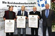 Den Goldenen Meisterbrief erhielten die Bäckermeister (von links) Rudi Stemmler, Gerhard Ossfeld und Heinz Glasbrenner. Rechts: Heinz Österle, Obermeister der Bäckerinnung Bruchsal.