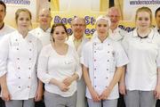 Finalisten und Jury (von links): Robert Schorp, Franziska Zöhren, Michael Nemeyer, Marina Mayer, Dieter Kauffmann, Sophie Marquetant, Bernd Mestekemper, Anna Rehn und Jürgen Rieber.
