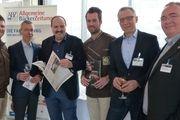 Auf dem Backkongress in Wiesbaden (von links): Johannes Hirth, Matthaes-Geschäftsführer Clemens Knoll, Johann Lafer, Joerg Schmid, ABZ-Chefredakteur Arnulf Ramcke und Andreas Höver von der Bäckerei  Seidel.