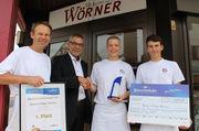 Die Bäckerei Holger Wörner in Jettingen freut sich über den Erfolg (v.l.): Bäckermeister Holger Wörner, Uwe Richter (Heinrichsthaler), Patrick Mittmann und Marc Wörner.