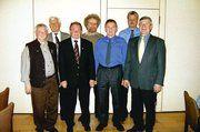 Auf der Delegiertentag des WBSB (von links): Anton Bräuling, der neue Kassier, dessen Vorgänger Siegfried Loser, Schriftführer Reinhold Ritz, Bundeschorleiter Siegfried Abel, der neue 2.Vorsitzende Erich Ruckaberle, Bundeschorl