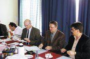Auf der Obermeistertagung des LIV Mecklenburg-Vorpommern (v. l.): Jörg Reichau (Vorstand), GF Heinz Essel, LIM Roland Hatscher, stellv. LIM Thomas Müller.
