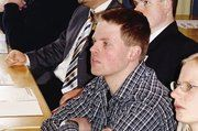 """Auch die Bäko Göttingen-Wolfenbüttel, hier im Bild Geschäftsführer Stefan Trapp und Thomas Seffer (Maschinenabteilung), verfolgten sehr aufmerksam die Veranstaltung. """"Sehr gut fürs Hintergrundwissen"""", so das Bäko-Team."""