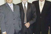 """Ministerpräsident Peter Müller, Kammerpräsident Alois Kirf und """"Ökonomierat"""" Franz Josef Juchem."""
