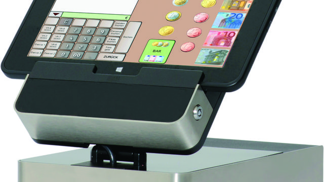 Tablet-Kassenlösung, hier mit einer speziellen Docking-Station verbunden.