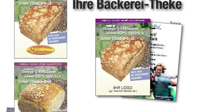 Tue Gutes und rede darüber: Werbematerialien rund um Chia-Brot-Spezialitäten.  (Quelle: Chiabia)