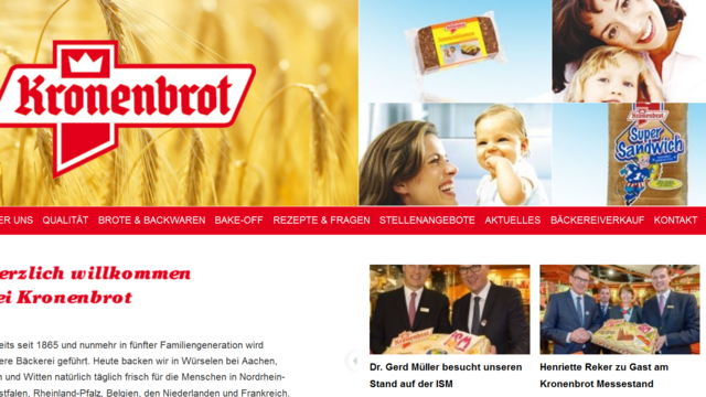 Kronenbrot beliefert unter anderem namhafte Lebensmitteleinzelhändler.  (Quelle: Screenshot/Homepage)