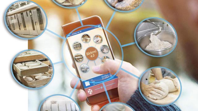 Das Smartphone als Schaltzentrale vernetzter Produktionsabläufe. (Quelle: Fotolia/Archiv, Montage: Gugel)
