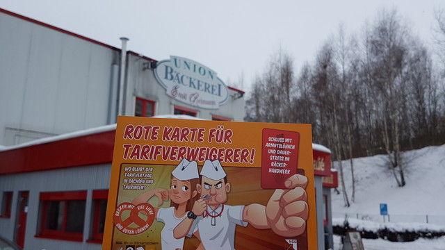 Die NGG macht plakativ Druck auf das Bäckerhandwerk in Sachsen.   (Quelle: NGG)