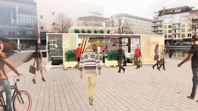 Das erste Aldi Bistro soll zunächst für drei Monaten im Kölner Mediapark stehen. (Quelle: Unternehmen/ Projektentwürfe)