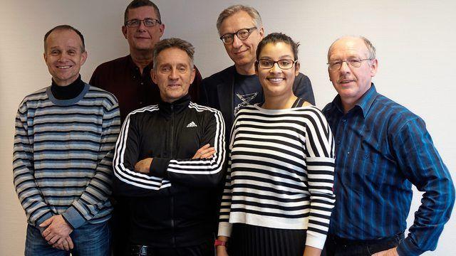Das Backmedien-Redaktionsteam (v. l.): Ralf Küchle, Wolf-Andreas Richter, Reinald Wolf, Arnulf Ramcke, Bérengère Thumm und Dieter Kauffmann. (Quelle: Kresa)