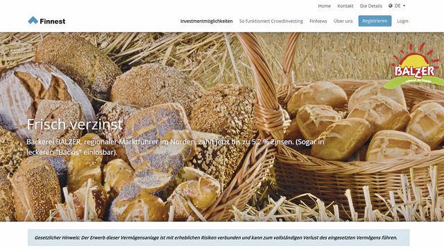 Backwaren als Geldanlage: Screenshot der Homepage der Bäckerei Balzer (Quelle: Unternehmen/ABZ)