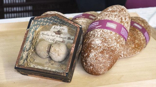 Zeitsprung: Hungerbrötchen aus dem Jahr 1817 und das Brot zum Jubiläum der Uni Hohenheim. (Quelle: Emmerling/Kauffmann)