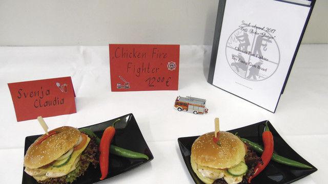 """Der """"Chicken Fire Figther"""" – ein Burger für die Feuerwehr. (Quelle: RBZ1)"""