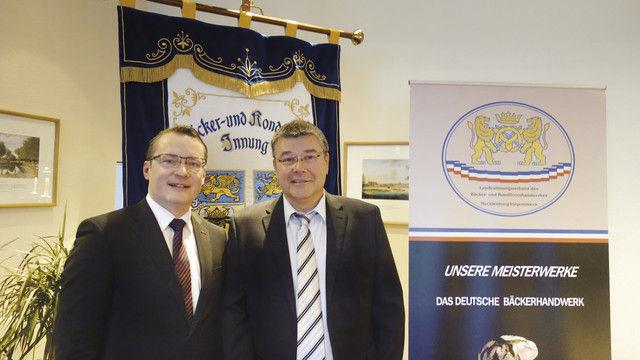 Der scheidende Landesinnungsmeister Thomas Müller (rechts) hatte seinen Nachfolger Matthias Grenzer in den vergangenen Jahren auf dessen neues Amt vorbereitet. (Quelle: BKV-Nord)