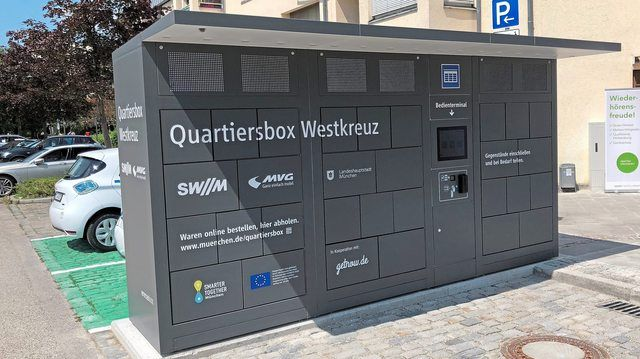 So sehen sie aus: Die neuen Quartiersboxen, die den Einkauf erleichtern sollen.  (Quelle: Presseportal)