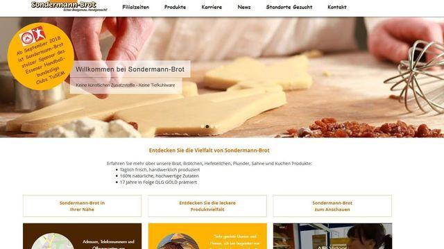 Auf der Homepage wirbt Sondermann mit dem Sponsoring von Tusem Essen (Quelle: Snapshot ABZ)