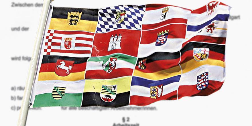 Klares Signal: In zwölf Bundesländern gibt es Tarifverträge. Neu dazugekommen ist Baden-Württemberg. Montage: Peters