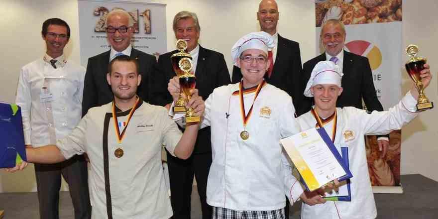 Herausragender Bäckernachwuchs (von links): Aurélien Pinault (Frankreich), Marc Mundri und Felix Remmele (beide Deutschland).