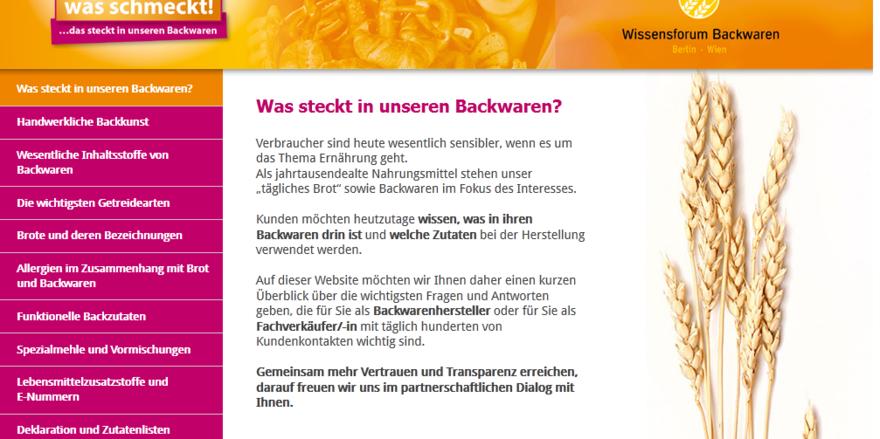 """Ansicht der neuen Webseite """"Wissenwasschmeckt.de""""."""