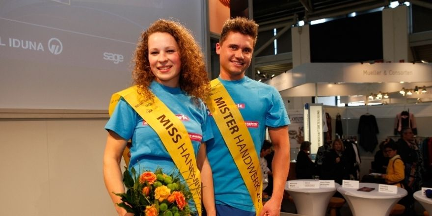 Stolze Gewinner 2014: Lena Winkelsträter, Malerin und Lackiererin und Victor Schwaibold, Zahntechniker.