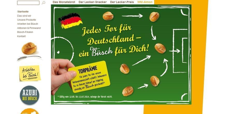 Die Bäckerei Büsch verspricht beim Einkauf ein Gratisbrötchen für jedes geschossene Tor der deutschen Nationalmannschaft.