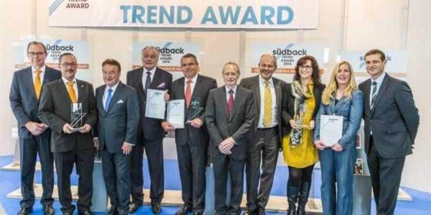 Die Gewinner des Südback Trend Award: Werner & Pfleiderer Lebensmitteltechnik GmbH, König Maschinen GmbH, Schweitzer Ladenbau GmbH.