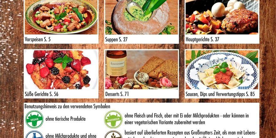 Blick auf das Inhaltsverzeichnis des Kochbuchs.