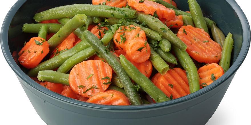 Migros serviert Gemüse in der Mehrwegschale.