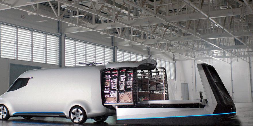 Zukunftspläne: Auf einem selbst fahrenden Regal rollt die Ware automatisch in den Transportraum.