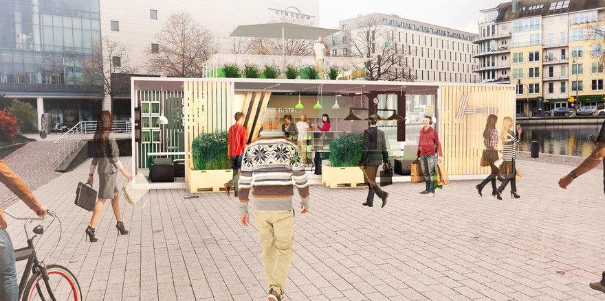 Das erste Aldi Bistro soll zunächst für drei Monaten im Kölner Mediapark stehen.