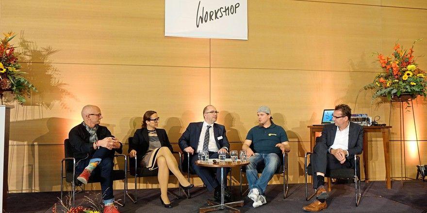 Podiumsdiskussion beim Bäko Workshop (von links): Dr. Dag Piper, Marlies Gruber, Marcus Höffer, Axel Schmitt und Prof. Dr. Achim Spiller.
