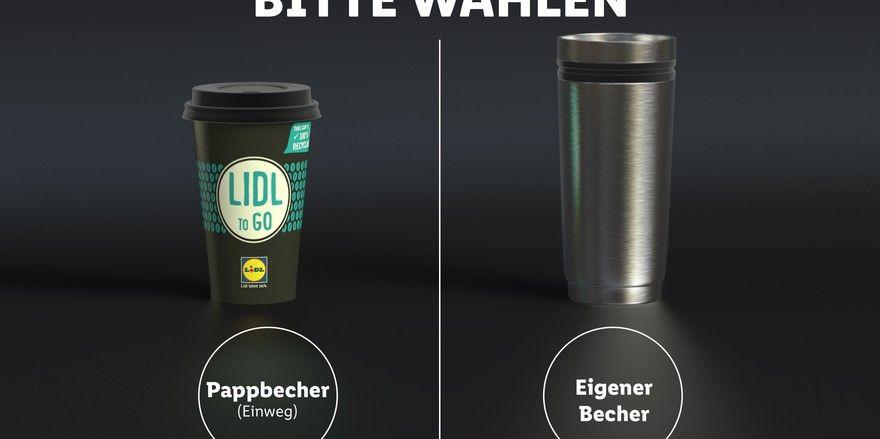 So stellt Lidl die Wahlmöglichkeit an seinen Getränkeautomaten vor.
