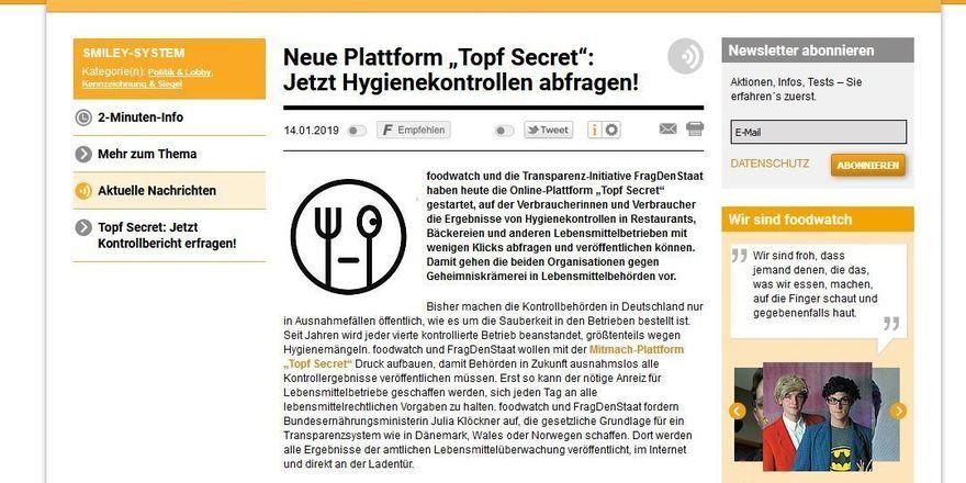 """So sieht sie aus, die Homepage von """"Topf Secret""""."""